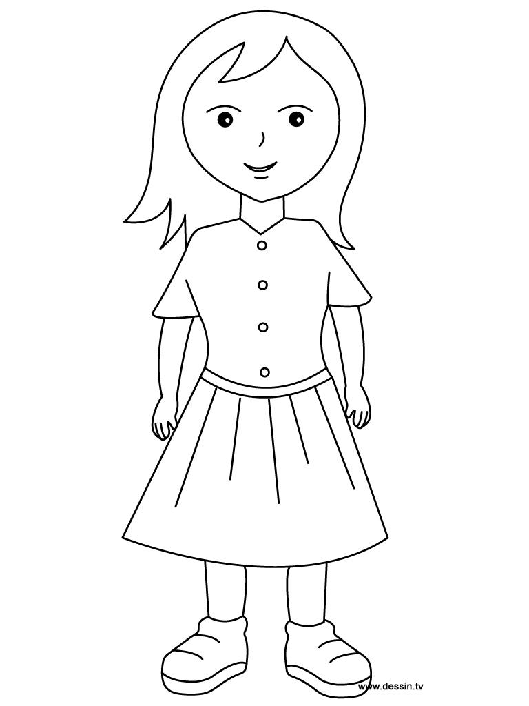 95 dessins de coloriage fille imprimer sur - Dessin de fille ...