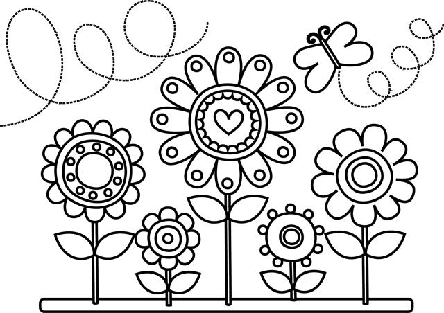 jeu de coloriage de fleurs et papillons à imprimer