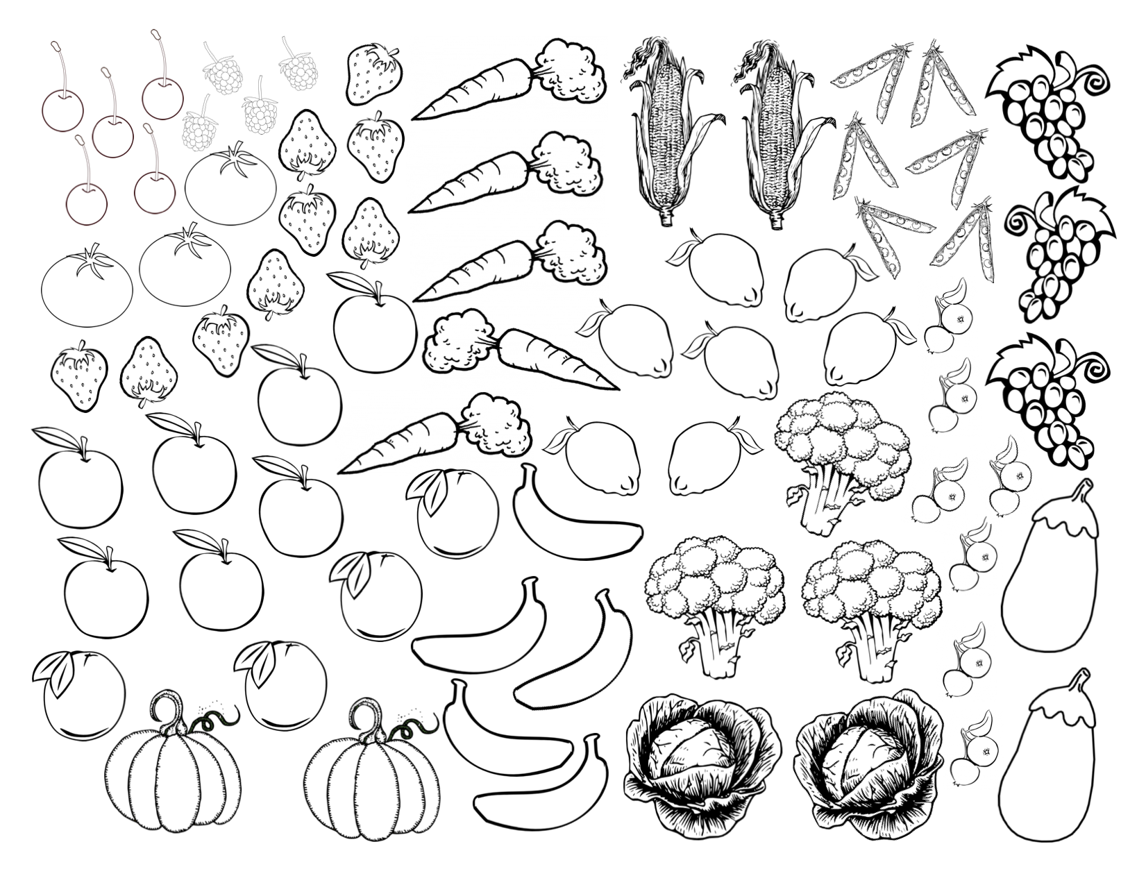 fruits et vegetables coloriage