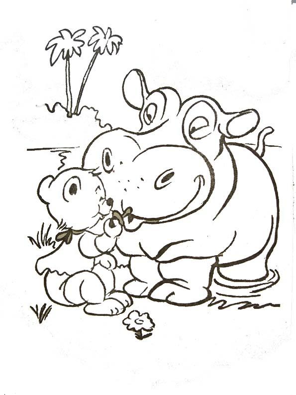 Image de hippopotame a colorier
