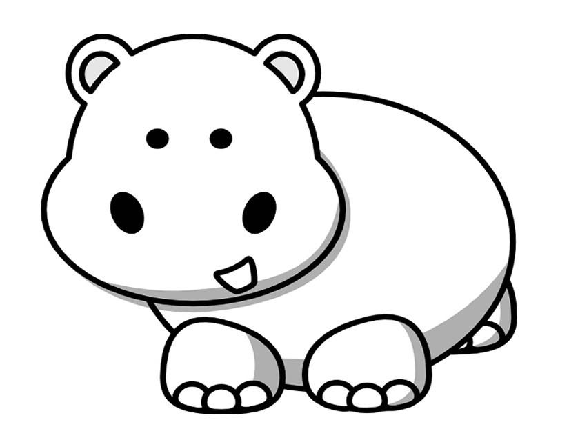 Dessin de hippopotame imprimer et colorier