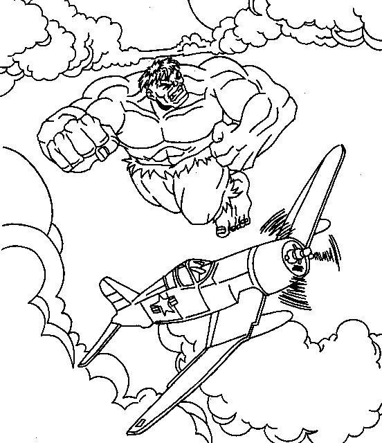 coloriage hulk attaque les avions et dessin à colorier hulk attaque