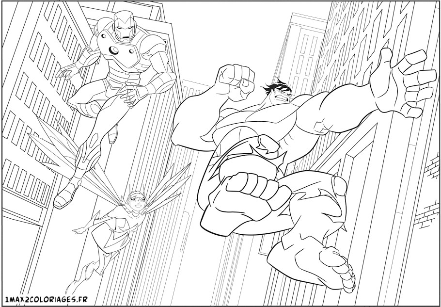 coloriage a imprimer les avengers en action hulk iron man gratuit
