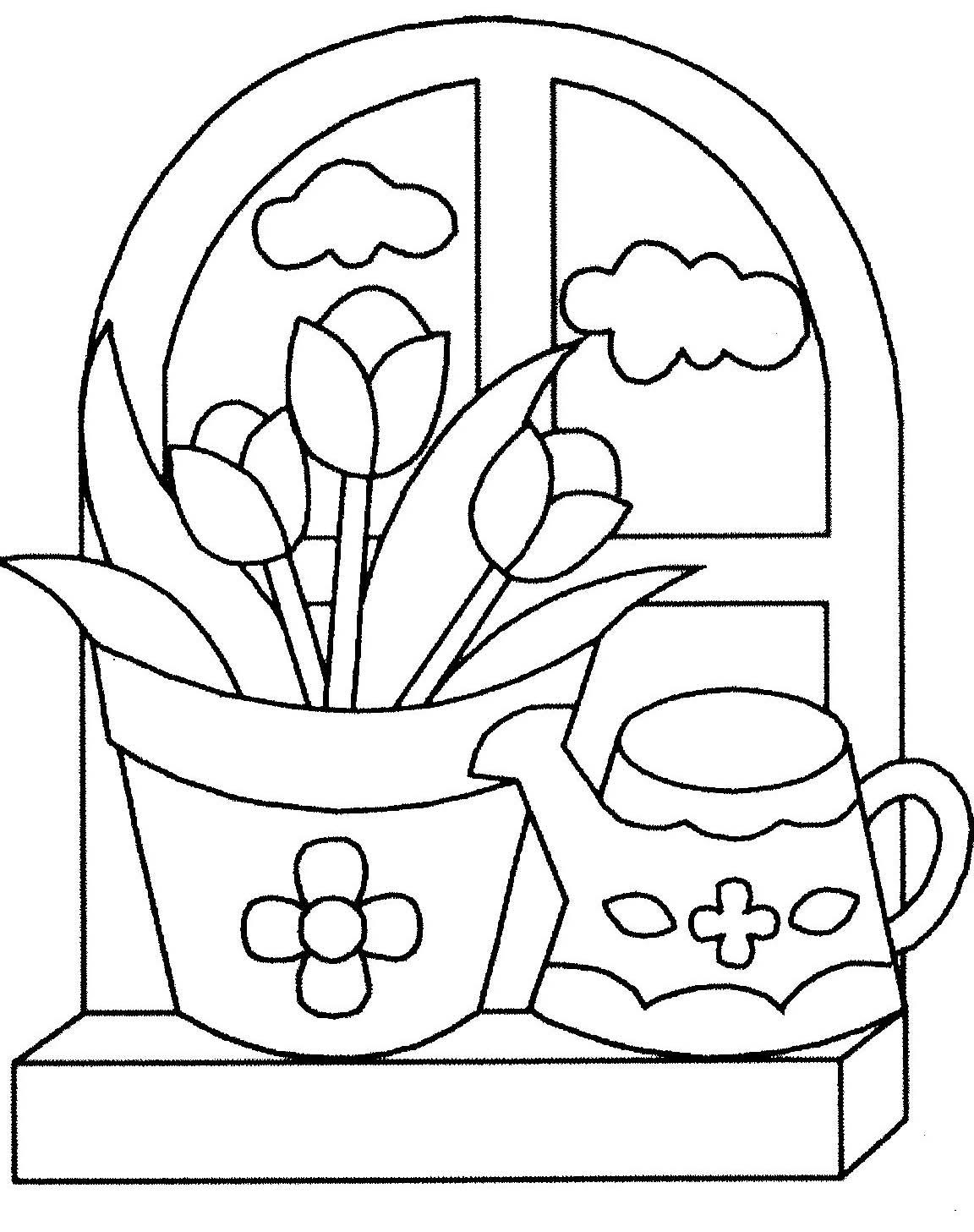 coloriage stylisé de pot de fleurs et arrosoir le bord de la