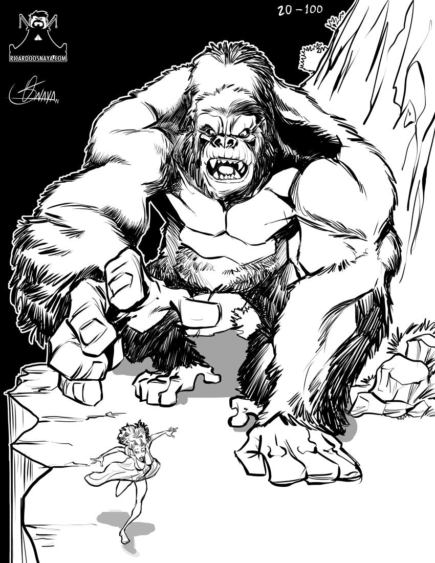 gorila à colorier az dibujos à colorier