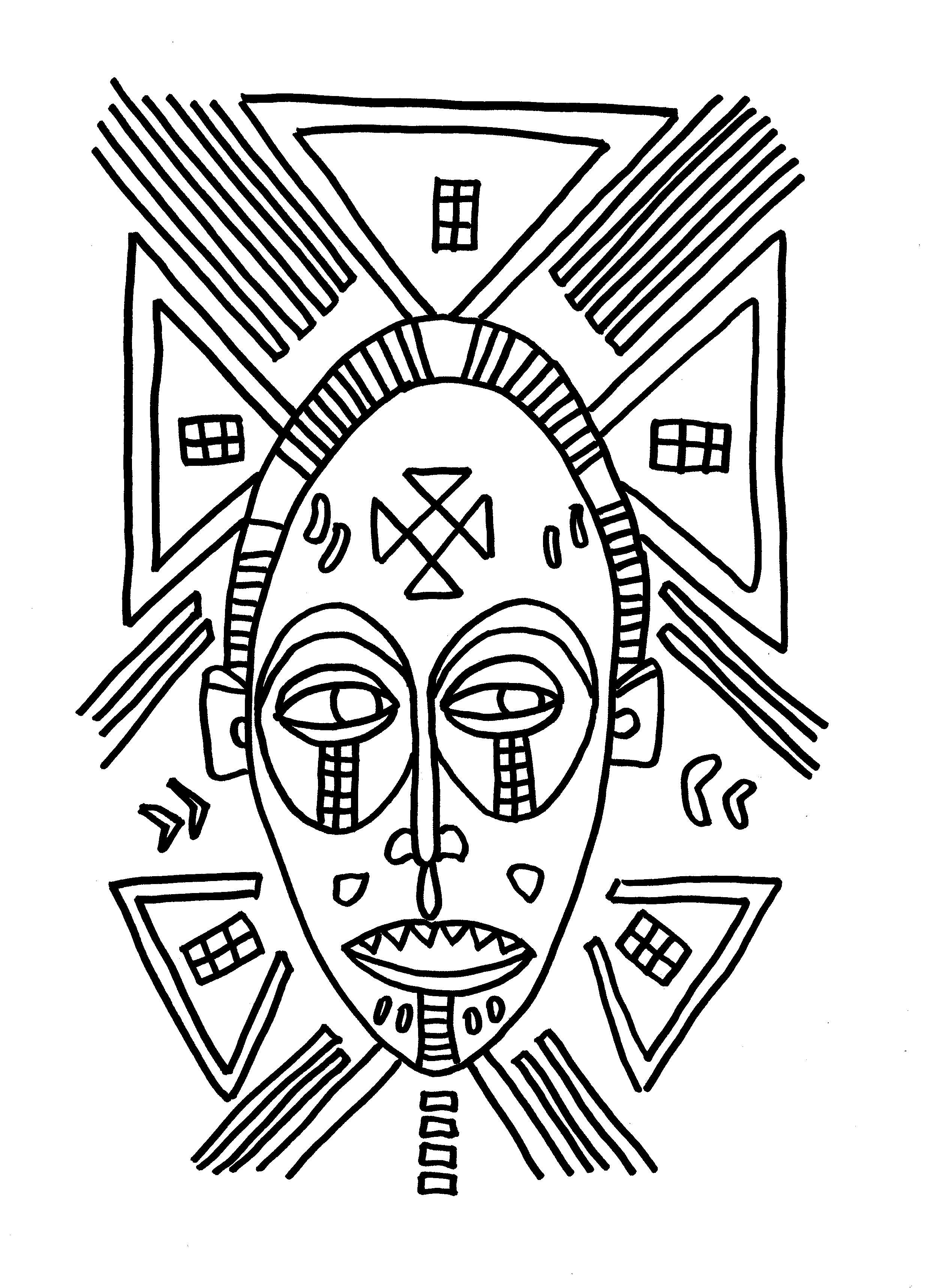 27 dessins de coloriage masque afrique imprimer sur laguerche coloriages masques africains