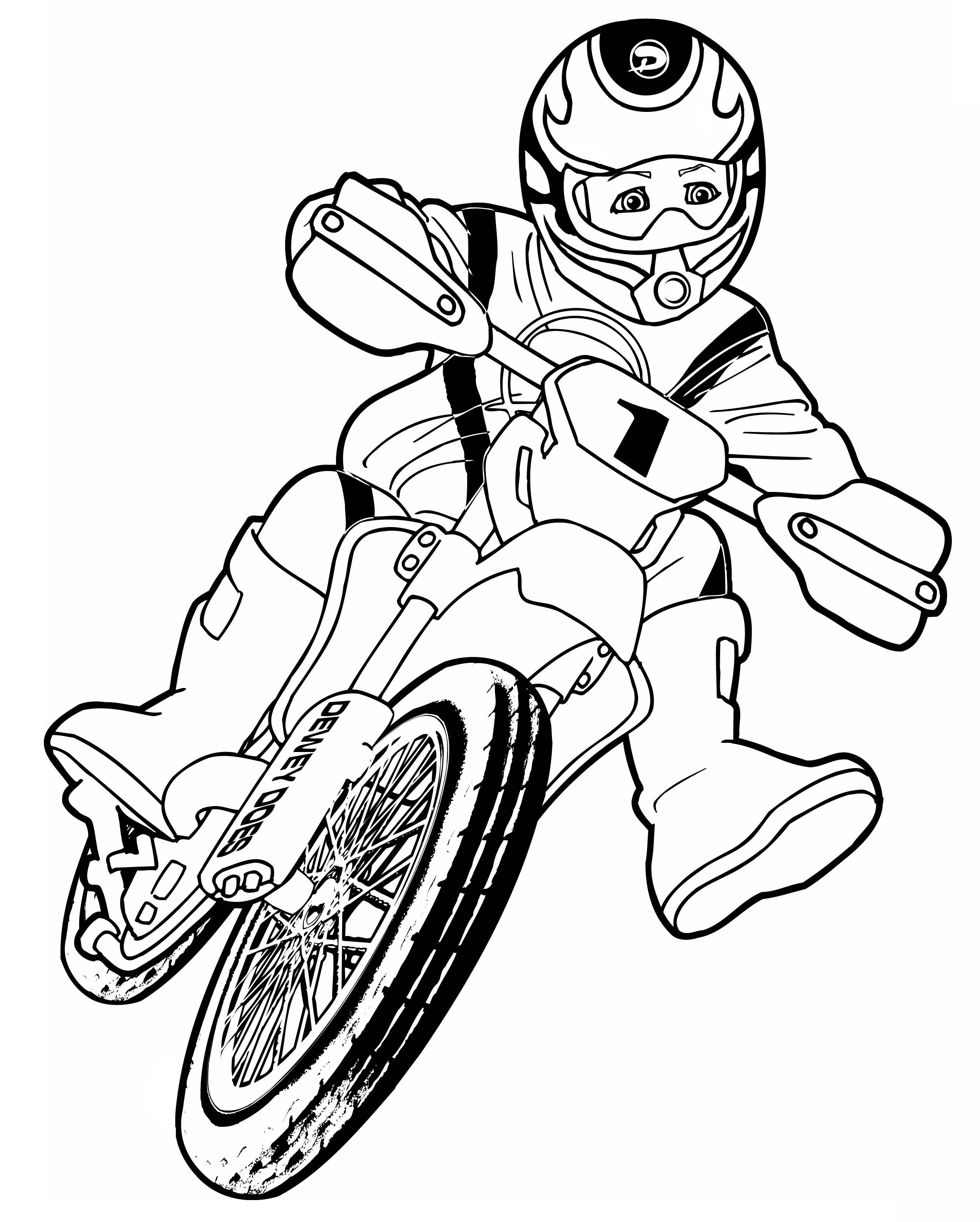 Dessin Coloriage motocross a colorier