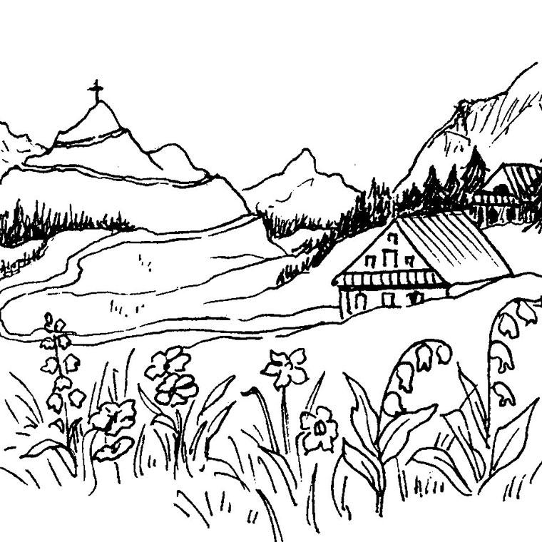 coloriages coloriage nature paysage