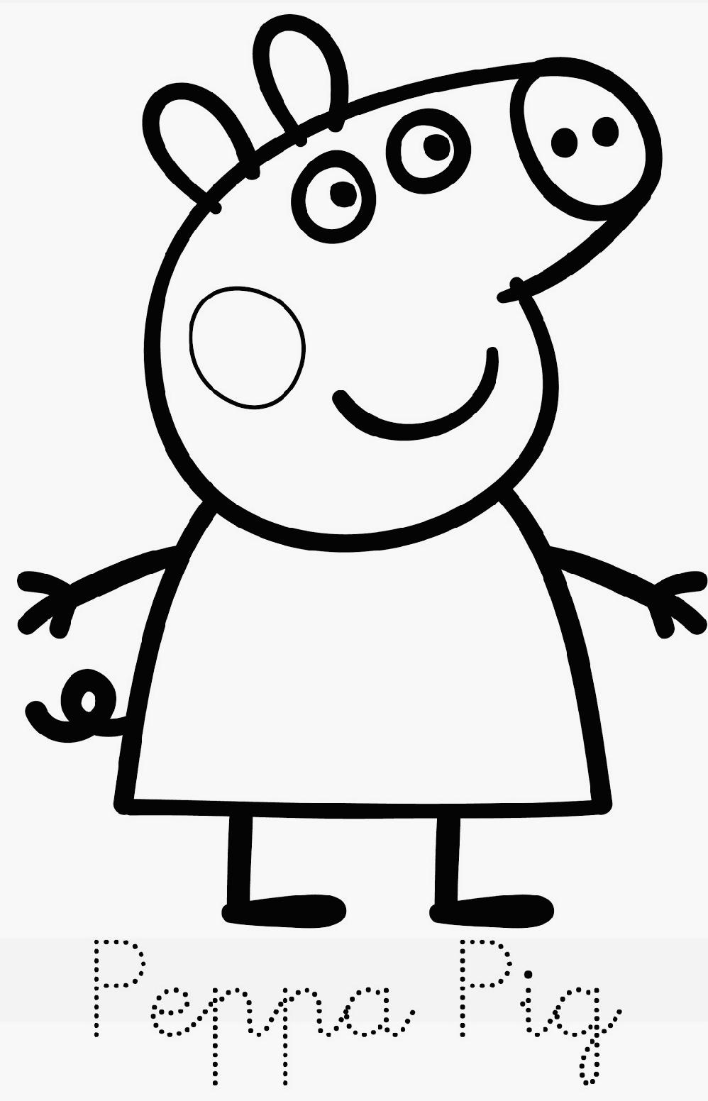 111 dessins de coloriage peppa pig imprimer sur for Peppa pig cake template free