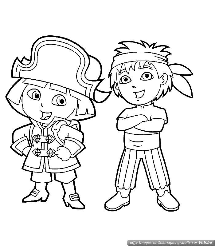 coloriage dora pirate