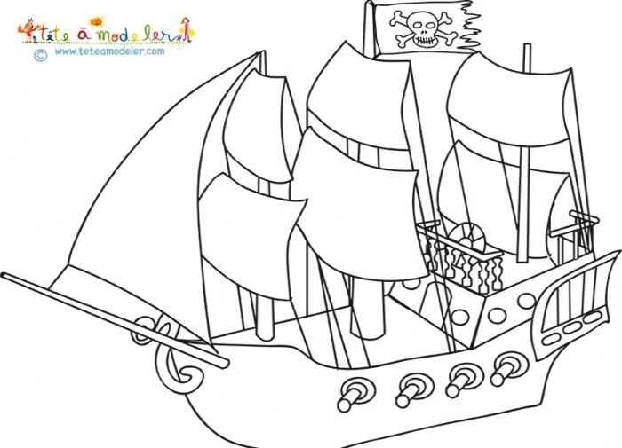 coloriage coloriage d'un bateau pirate