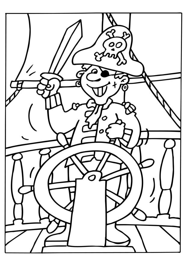 coloriage pirate au gouvernail et dessin à colorier pirate au