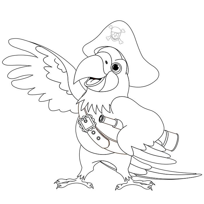 coloriage perroquet de pirate a imprimer gratuit