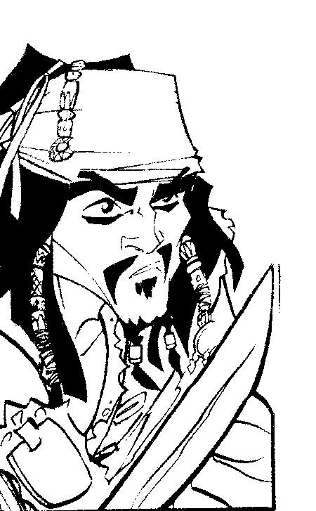 coloriage à imprimer gratuit : pirate des caraibes sabre au poing