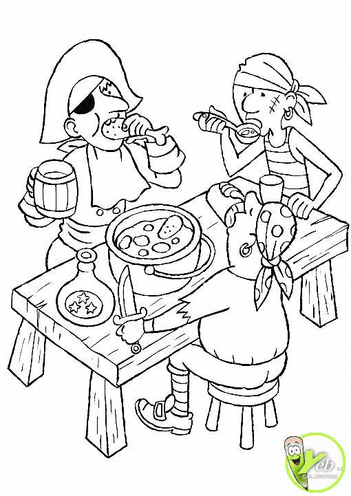 coloriage pirate les pirates se restaurent aux caraïbes