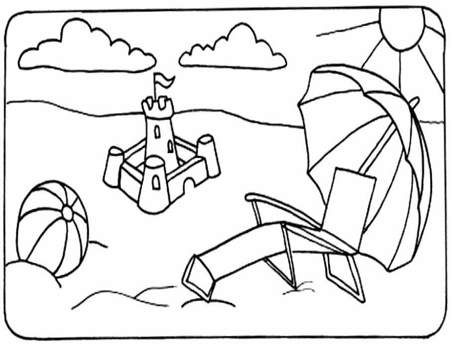 fun dessins à colorier: plage dessins à colorier