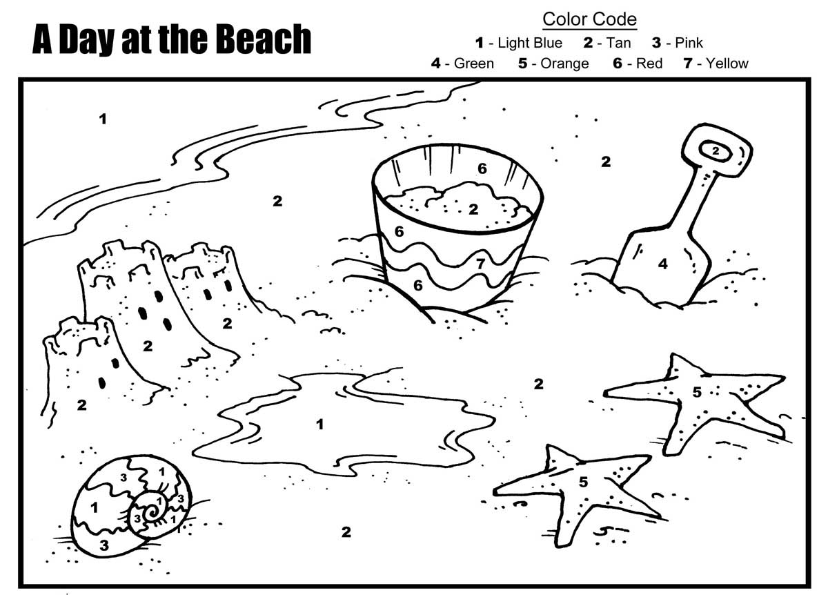 et enfants color par number day at the plage coloriage par numbers