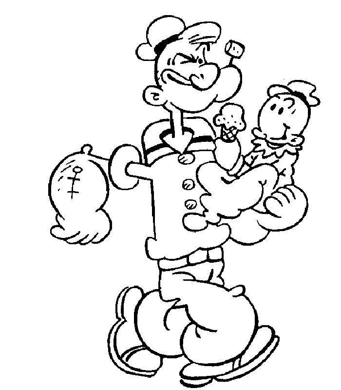 cartoon popeye the sailor man dessins à colorier