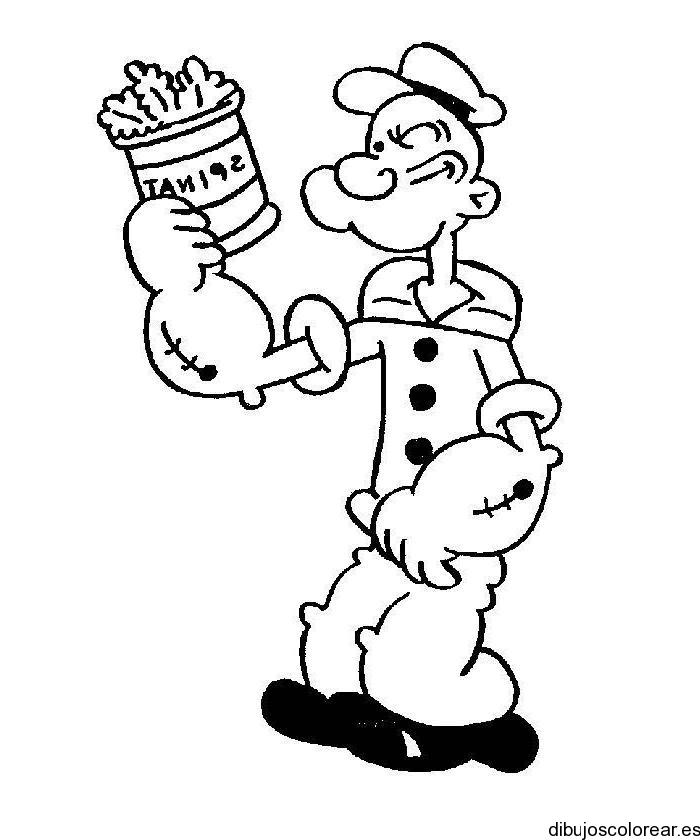 dibujo de popeye con una lata de espinacas