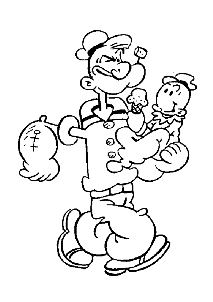 coloriage popey : dessin popeye a imprimer et colorier