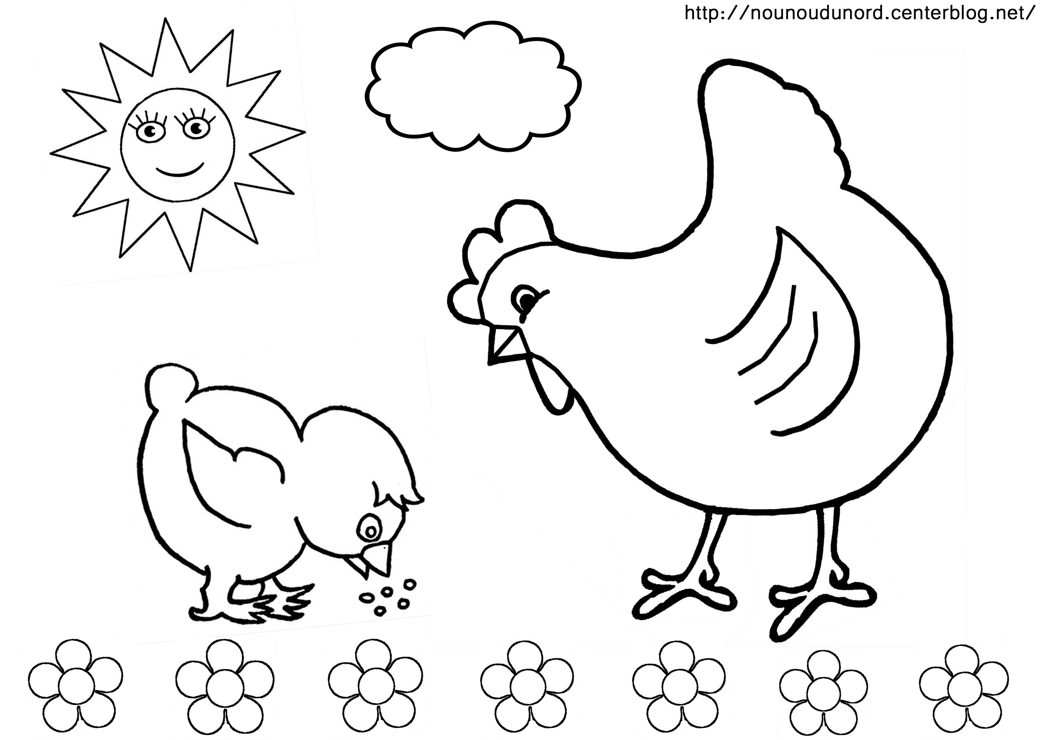 S lection de coloriage poule imprimer sur - Dessin de poules ...