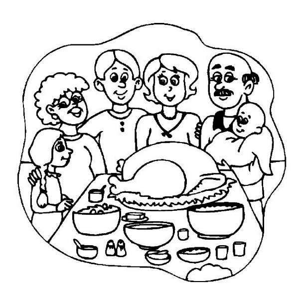Printable Pages Of Family Eating Thanksgiving Dinner Coloring Pages