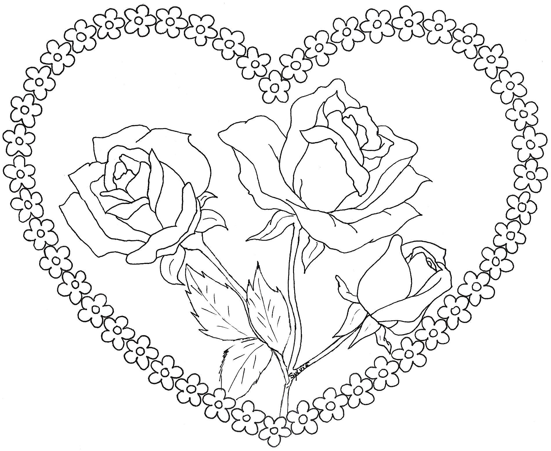 Image Coloriage rose et coeur gratuit