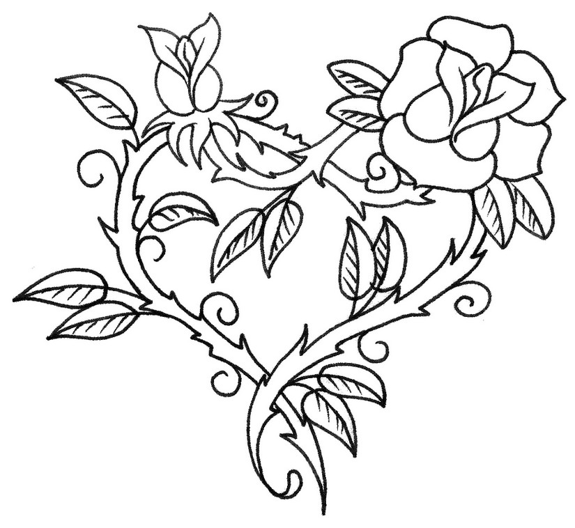 63 dessins de coloriage rose et coeur imprimer sur - Rose coloriage ...