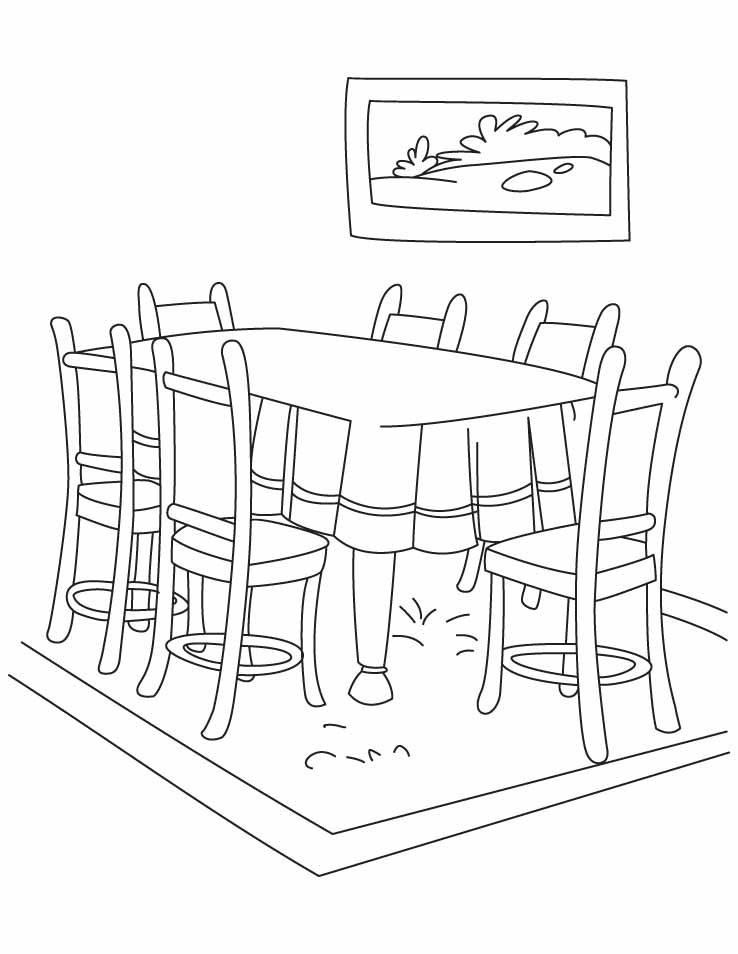 13 dessins de coloriage salle a manger imprimer sur. Black Bedroom Furniture Sets. Home Design Ideas
