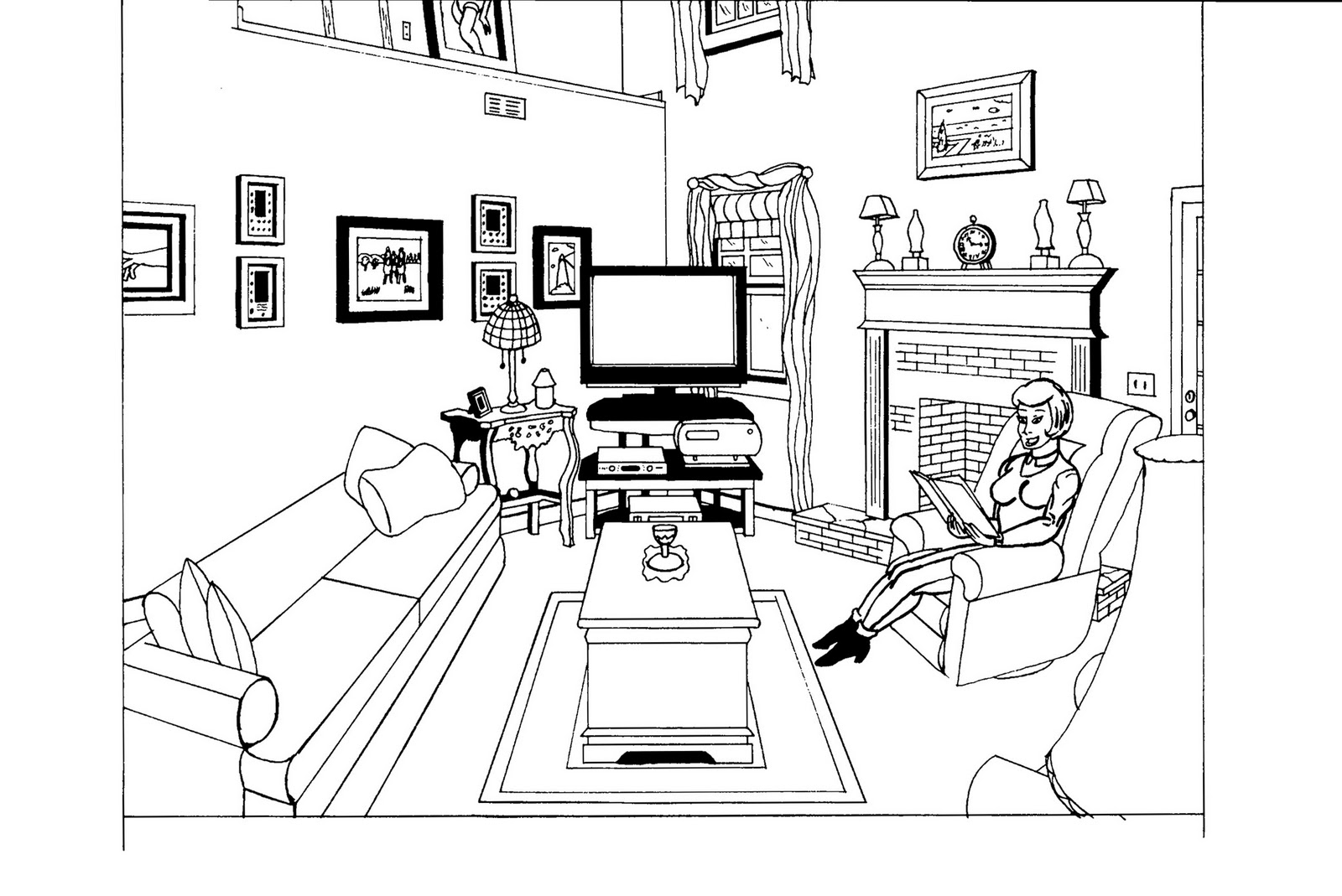 Image #22406 - Coloriage salon gratuit