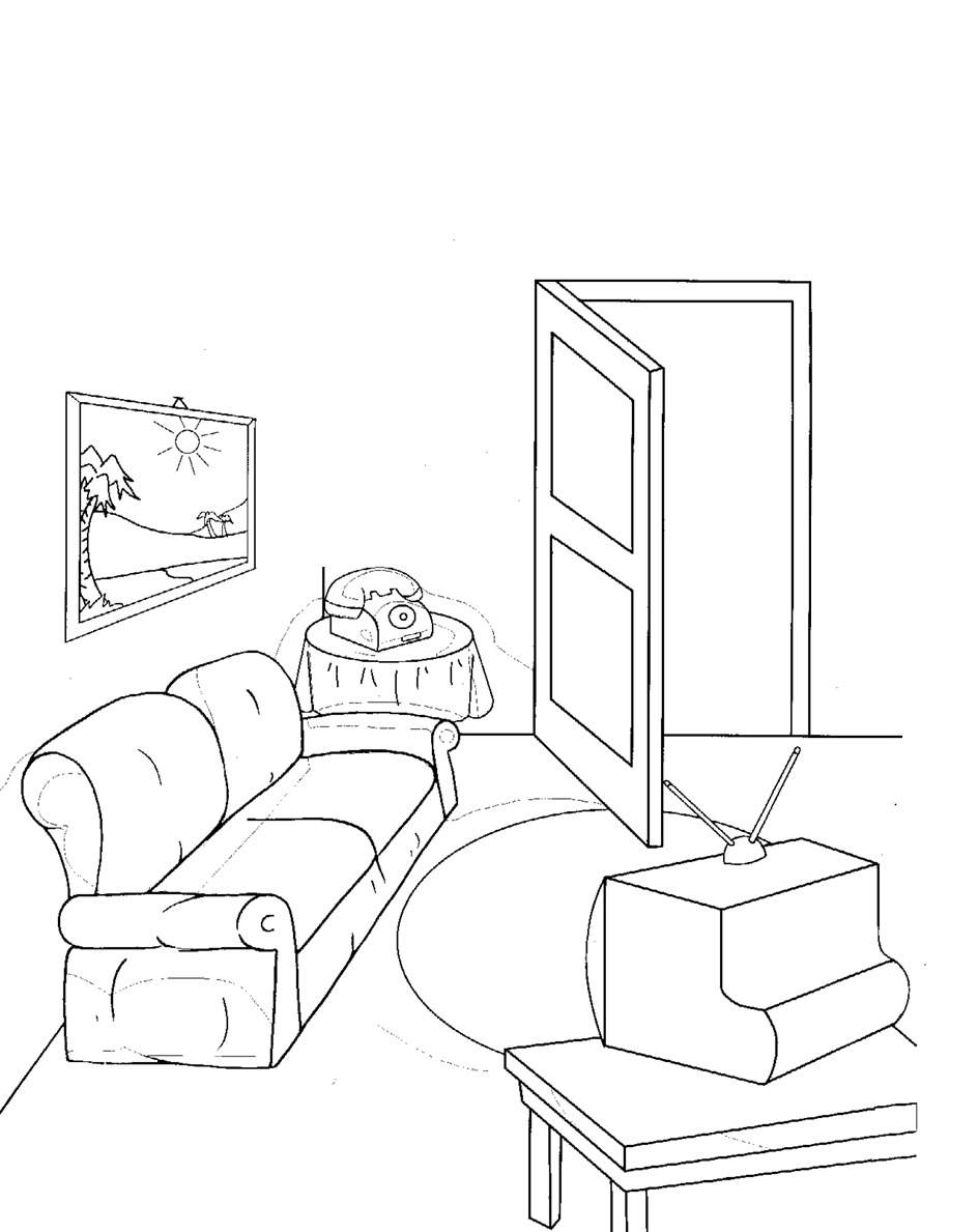 Living room coloring page - Living Room Drawing For Kids 15