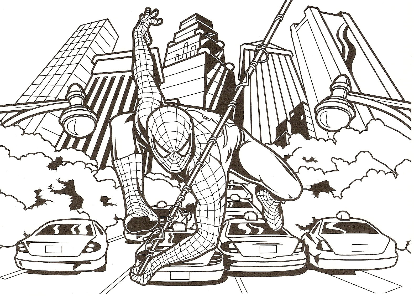coloriage spiderman dans la ville et dessin à colorier spiderman