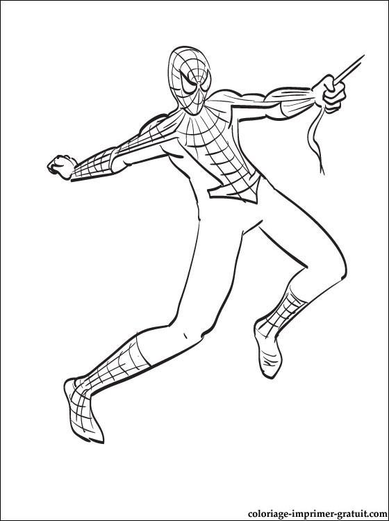 coloriage spider man qui survole la ville coloriage à imprimer