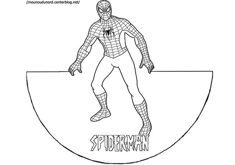 coloriage en forme de cône spiderman