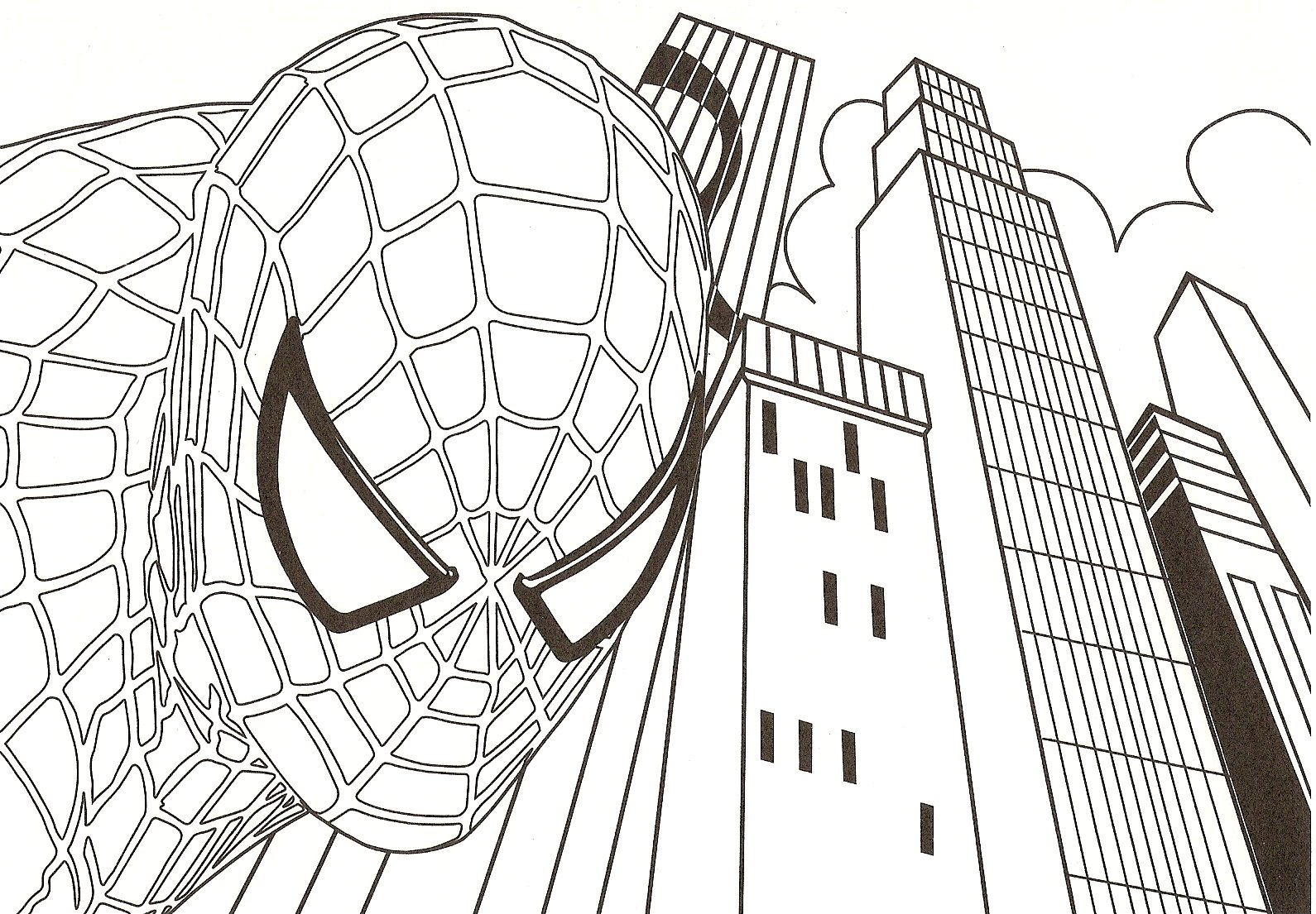 coloriage spiderman, son visage et dessin à colorier spiderman