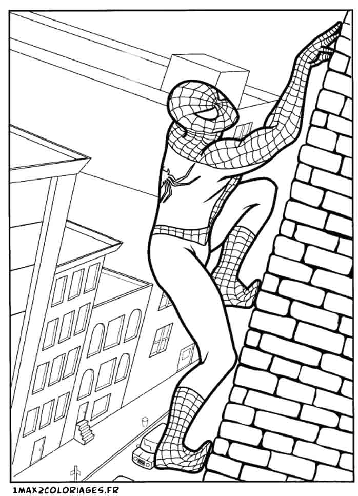 coloriages de spiderman spiderman escalade une façade de building