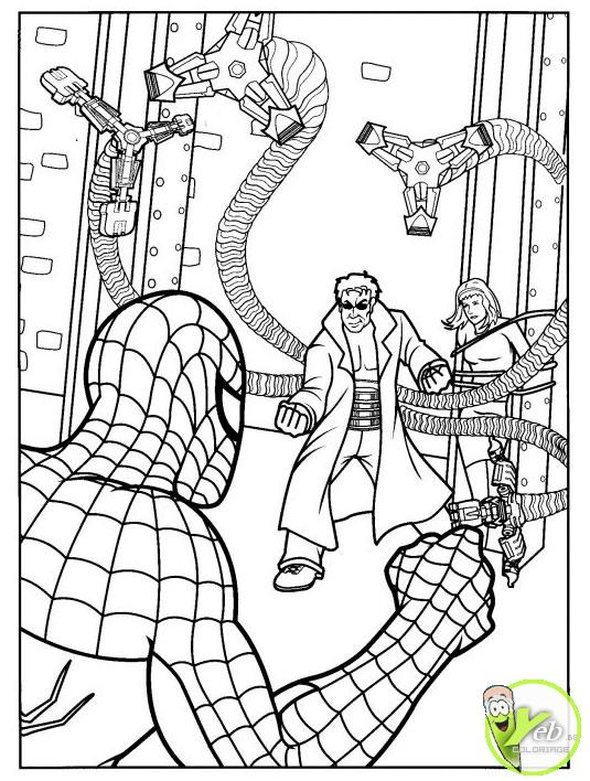 coloriage spiderman spidermant combat le méchant bandit