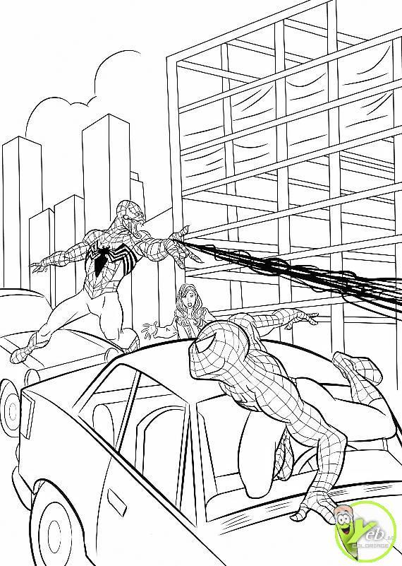 coloriage spiderman contre l'homme araignée dans la catégorie
