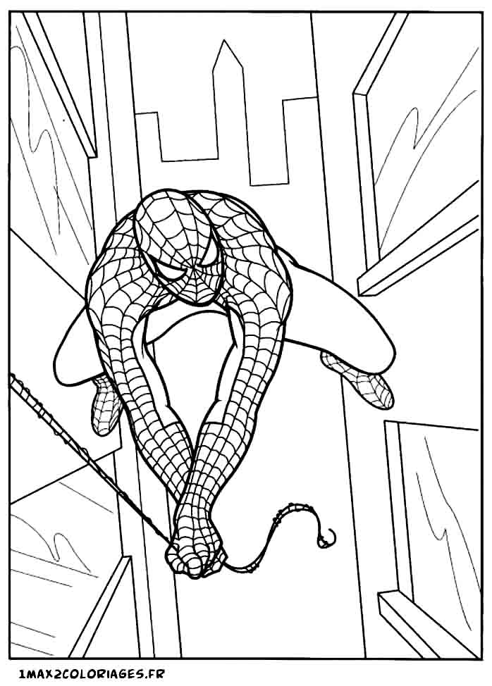 coloriages de spiderman spiderman vole entre les building