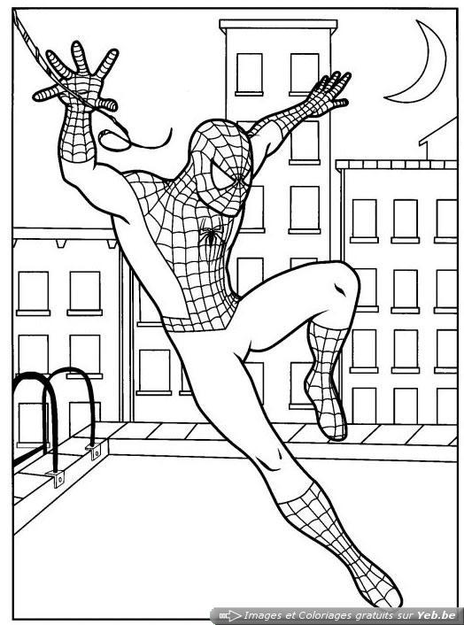 coloriage spiderman est le toit de la maison dans la