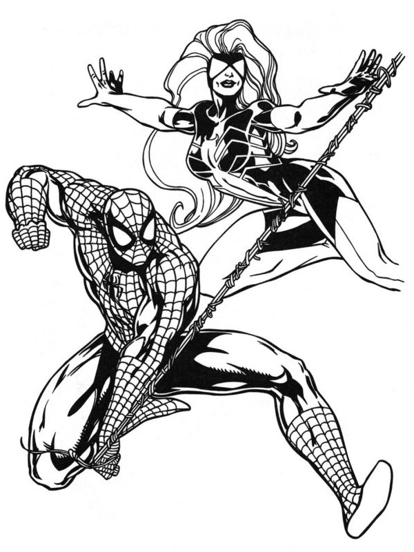 coloriage spiderman et spiderwoman
