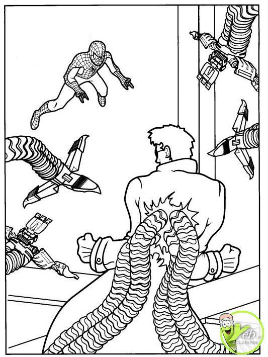 coloriage spiderman a pris l'homme tentucule au piège
