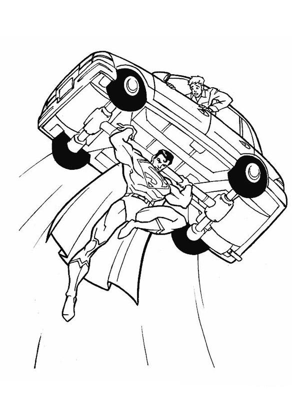 coloriage superman souleve une voiture