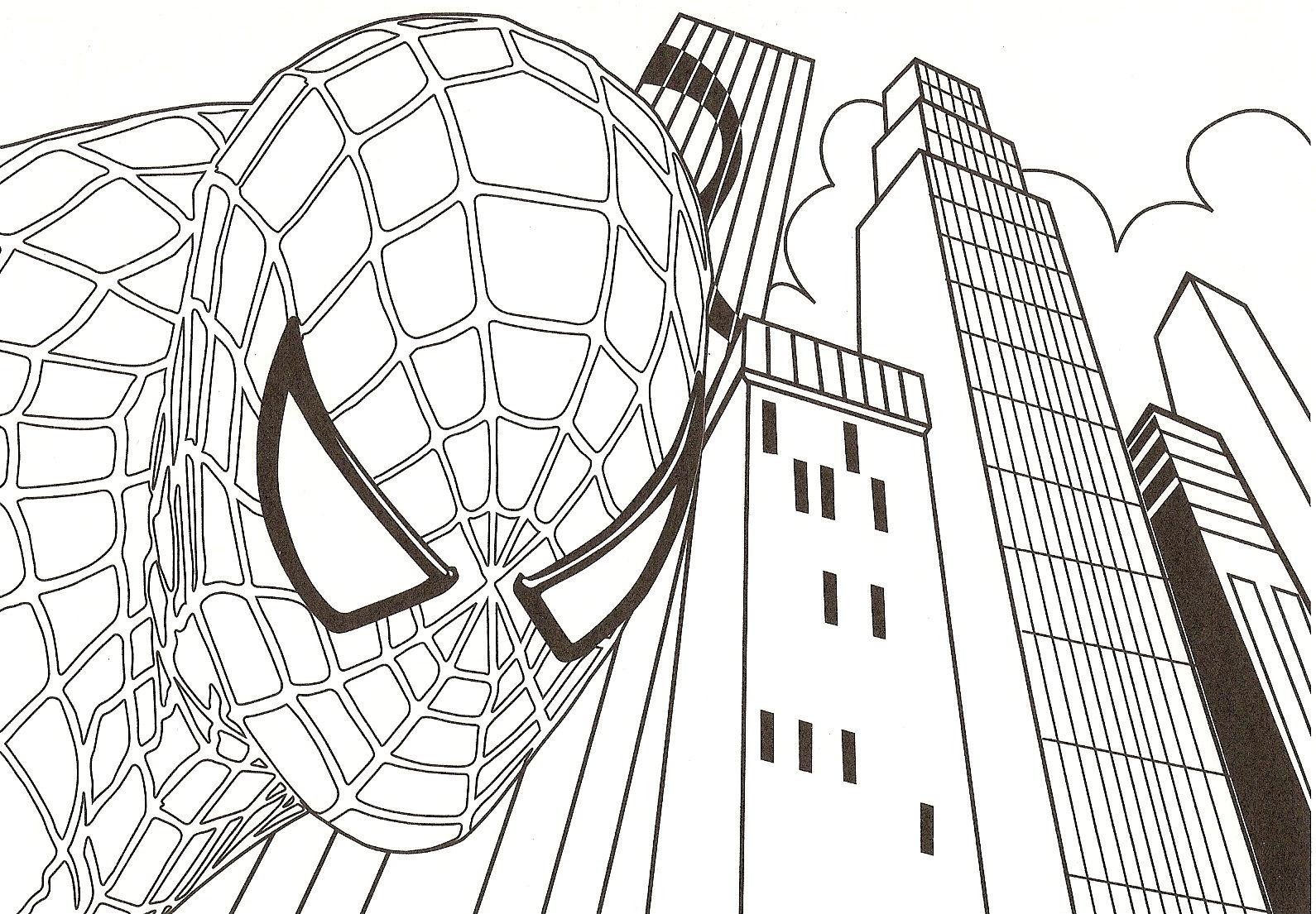 coloriage spiderman, son visage et dessin à colorier spiderman, son