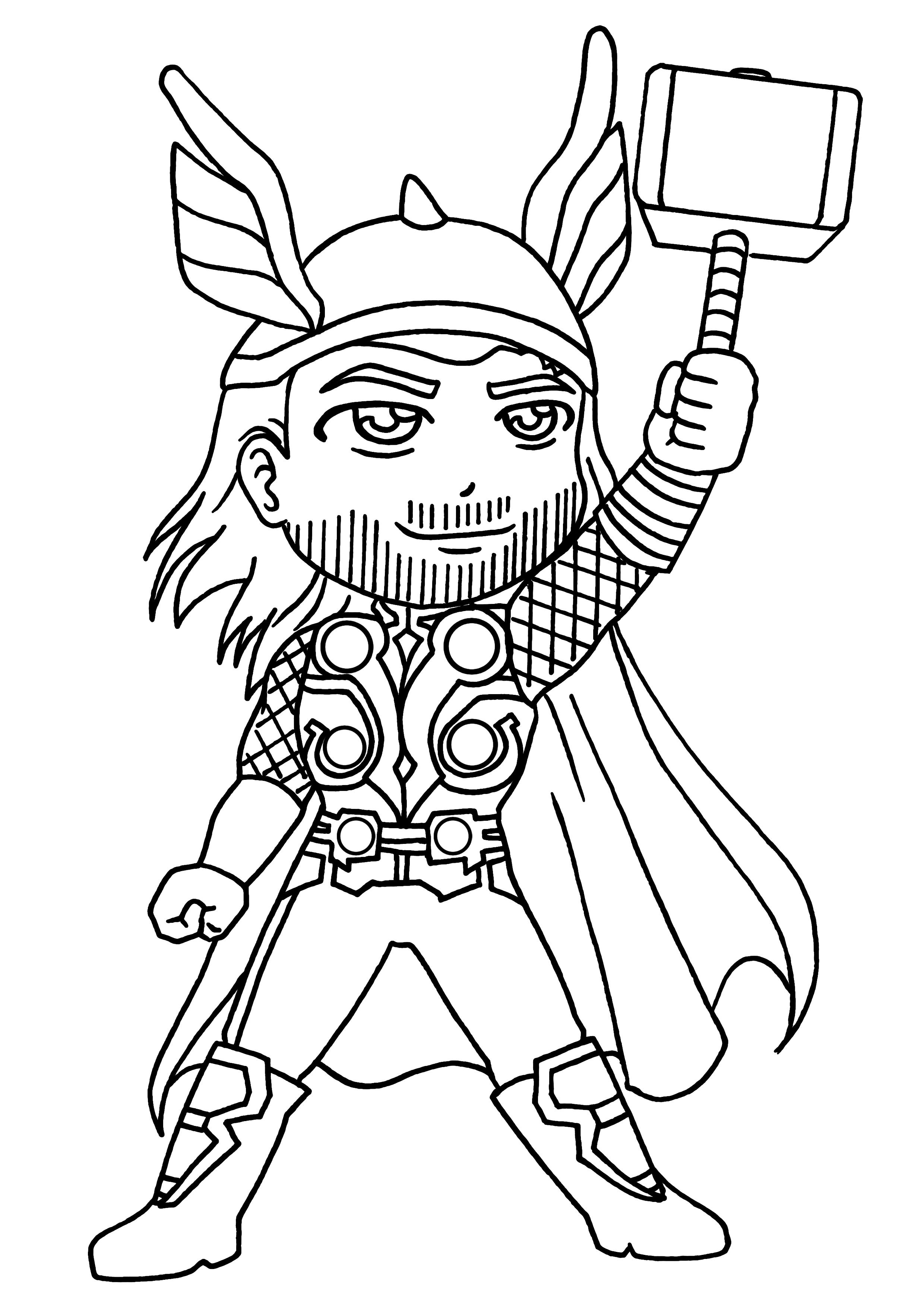coloriages de super héros thor