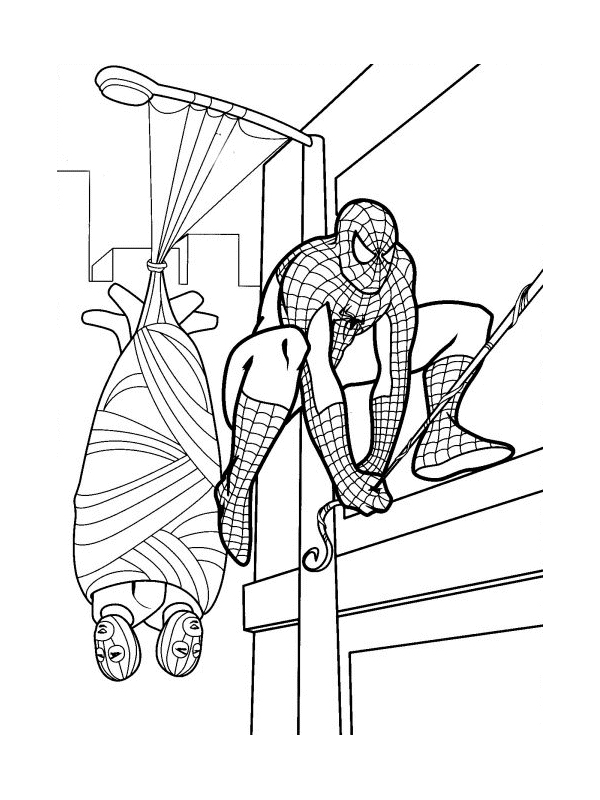 coloriage spiderman triomphe encore super hã ros