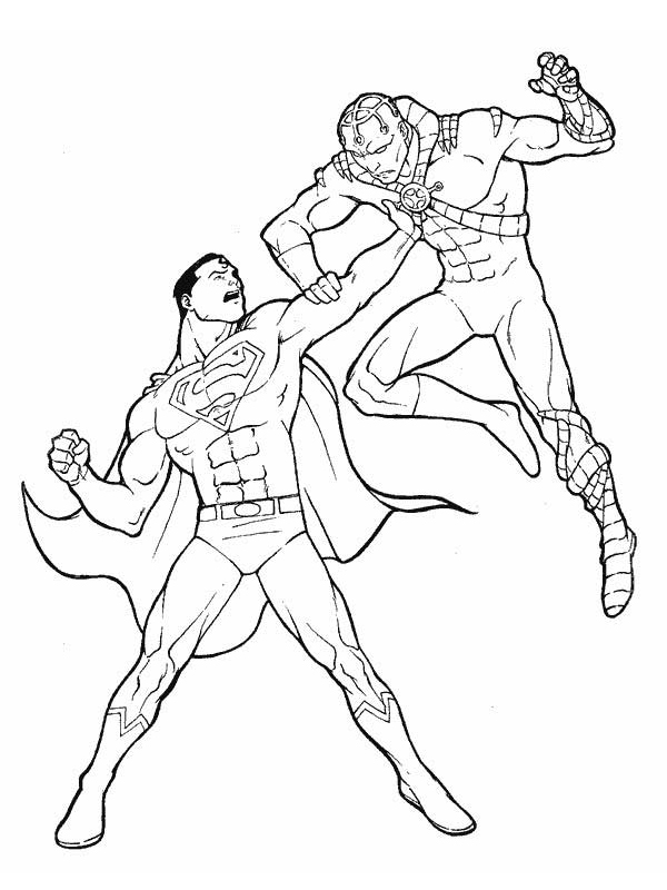 coloriage superman combat son ennemi