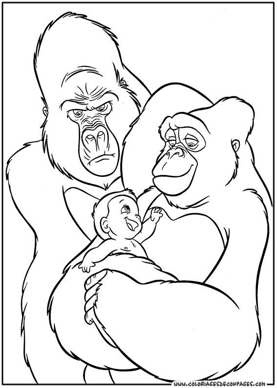coloriage tarzan avec son ami singe à imprimer et colorier image