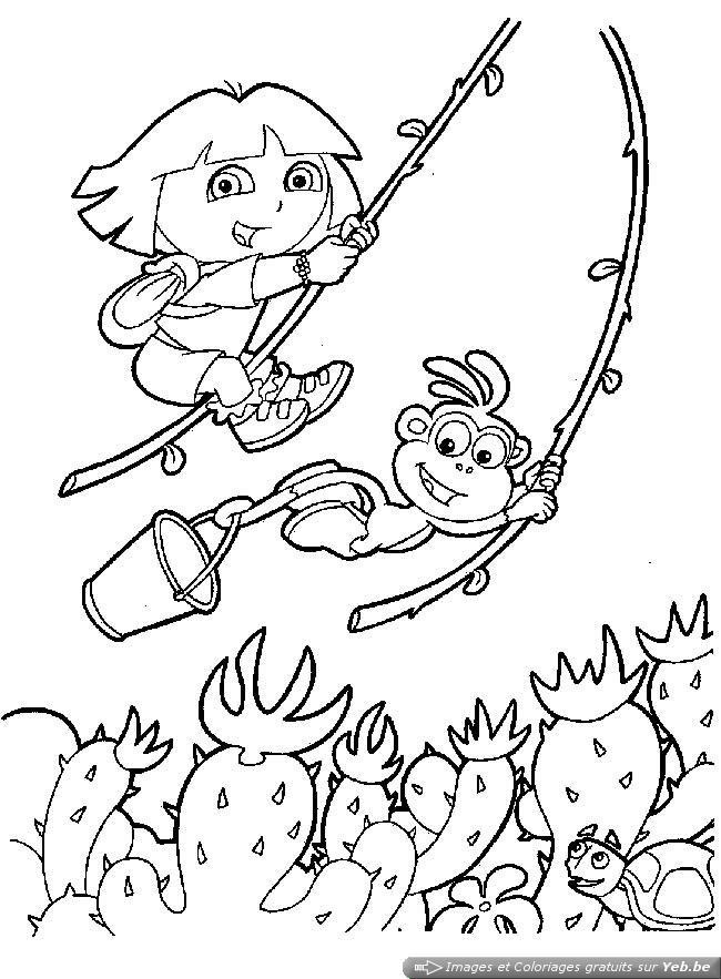 coloriage dora et babouche jouent à tarzan dans la catégorie