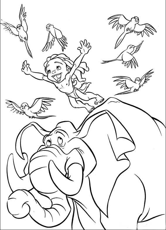 dessins à colorier de tarzan